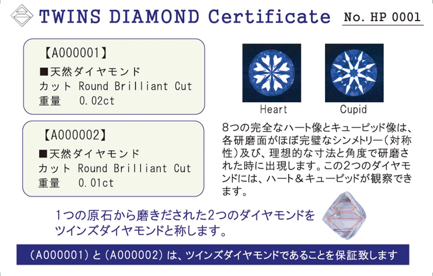 ツインズダイヤモンド保証カード